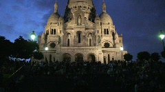Sacre Coeur in Paris at Night – Panning Up - stock footage