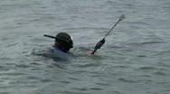 Skin diving fisherman with spear gun Stock Footage