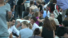 People Walking and Eating on Pont Neuf in Paris, France Stock Footage