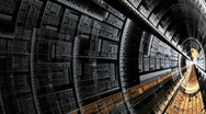 Stock Video Footage of abstract resembling metal spaceship or tunnel