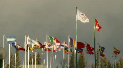 Flags, many flags with olympic flag Stock Footage