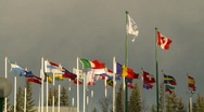 Stock Video Footage of flags, many flags with olympic flag