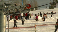 Sports and fitness, ski hill ski lift gears Stock Footage