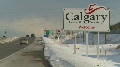 welcome to Calgary sign highway - stock footage