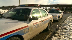 Crime and justice, police car, wdie shot, mid winter, downtown Stock Footage