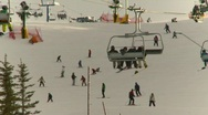 Fitness, ski hill, chairlifts and skiers Stock Footage