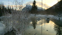Sunrise winter warm spring on frozen lake, Banff , #3 Stock Footage