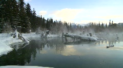 Sunrise winter warm spring on frozen lake, Banff, #10 Stock Footage