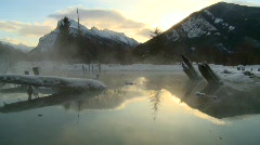 winter scene, warm spring on frozen lake, Banff - stock footage