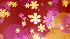 Retro flowers and dots looping background Stock Footage