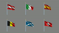Flags Set 02 Stock Footage