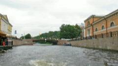 Neva. Channel. Boat. Sankt-Petersburg. Stock Footage