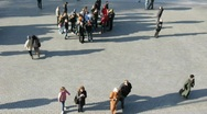 People walking on street. Filtered. View from up. Time lapse. Stock Footage