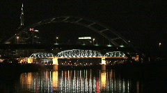 Nashville Tennessee Bridge at Night on Cumberland River – Zoom in Stock Footage