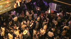 Overhead View of Street Party with People at Night Stock Footage