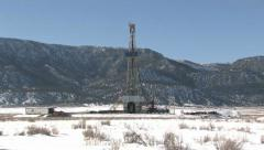 Oil drilling rig mountain close zoom in M HD Stock Footage