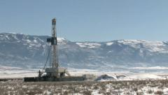 Oil drilling mountain pan M HD Stock Footage
