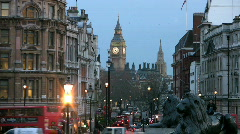 Stock Video Footage of Big Ben clock tower and Houses of Parliament from Whitehall at dusk London