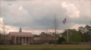 Stock Video Footage of American flag half mast at school 1 HD