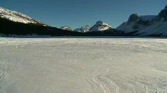 Bow Glacier and frozen lake, pan Stock Footage