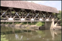 Covered bridge tilt down Stock Footage