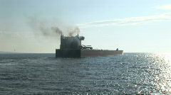 Freighter Leaving Port Stock Footage