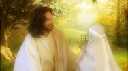 Jesus actor child hugs Stock Footage