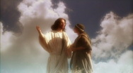 Jesus actor talks with woman Stock Footage
