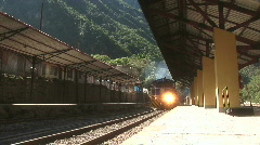 Machu Pichu Train arrives WS - stock footage