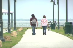 Couple Walking at a Lakeside Park Stock Footage