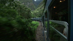 Machu Pichu Train out window - stock footage
