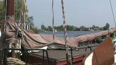 Boat in Holland, skutsje Stock Footage