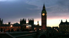 Big Ben and Westminster Bridge at sunset with the Houses of Parliament London - stock footage