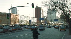Traffic in Chaoyang Business District in Beijing Stock Footage