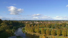 shrewsbury skyline pan 1080i - stock footage