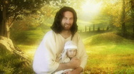 Jesus actor child on lap Stock Footage