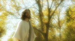 Stock Video Footage of Jesus actor walks gold