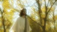 Jesus actor walks gold Stock Footage