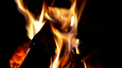 Fire burning in a fireplace (fire109-1) Stock Footage