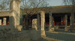 Stone tablets inside Dongyue Taoist Temple in Beijing, China Stock Footage