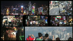 Hong Kong Split Screen Stock Footage