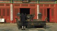 Taoist Priest inside Dongyue Taoist Temple in Beijing, China Stock Footage