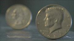 Half Dollar & Quater Dollar Rack Focus Stock Footage