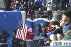 baby holds flag - stock footage