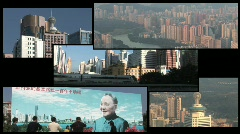 Shenzhen, China Split Screen Stock Footage