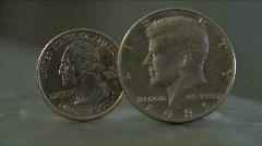 Half Dollar & Quater Dollar Stock Footage
