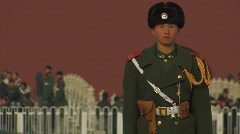 Guard at Tiananmen Square in Beijing, China Stock Footage