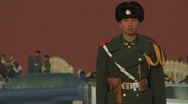 Stock Video Footage of Guard at Tiananmen Square in Beijing, China