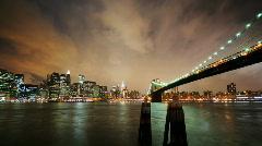 Brooklyn Bridge & Stylish Clouds - HD time lapse v2 Stock Footage