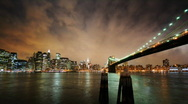 Stock Video Footage of Brooklyn Bridge & Stylish Clouds - HD time lapse v2